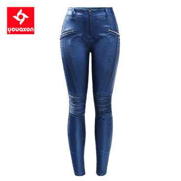 Warm Velvet Motorcycle Biker PU Leather Motor Jeans