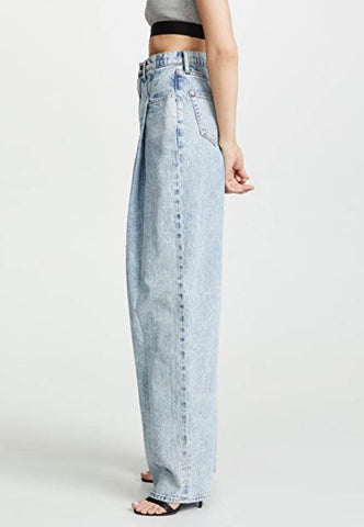 Light blue High waist Wide Leg Loose Straight Jeans