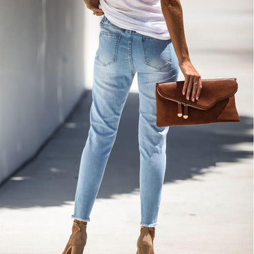 Holes High Waist  Pants Pencil Jeans