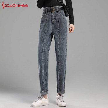 High Waist Black Loose Pencil Normal thickness Jeans
