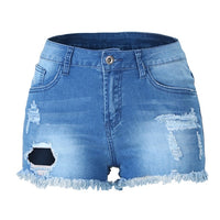 Holes Tassel Short Jeans Skinny Stretch denim shorts
