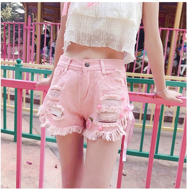 Korean Hollow out Shorts ins Pink White denim shorts