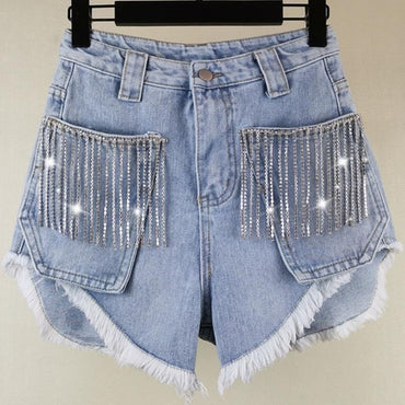 heavy work rhinestones tassel wide leg high waist jeans denim shorts