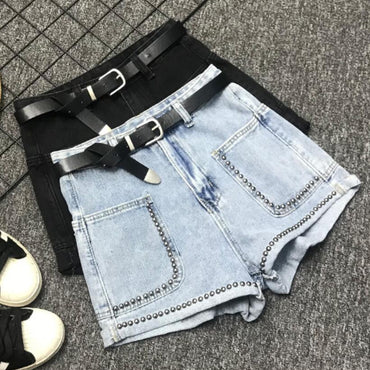 high waist rivets denim shorts