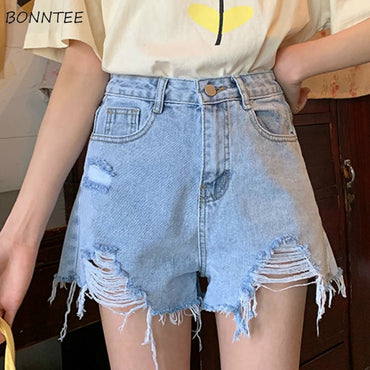 Korean Style Hole Pockets Chic denim shorts