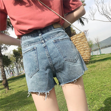 Korean Version High-waist denim shorts