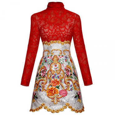 Two Piece Suit Long Sleeve Short Lace Shirt + High Waist Embroidery Jacquard Skirt