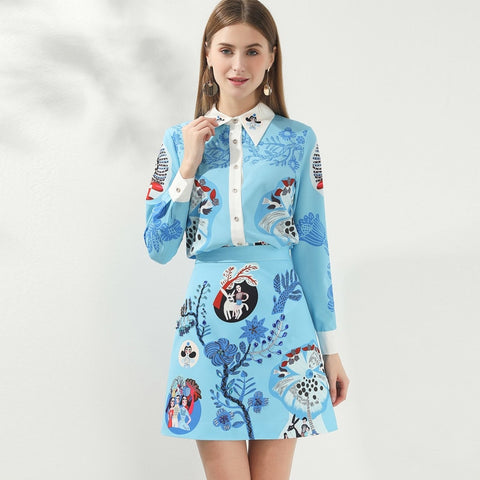 2 Piece Set Cartoon Print Long Sleeve Blouse  Top + Mini Skirt
