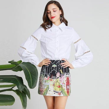 2 Piece Set Sexy Hollow Out Lantern Sleeve White Blouse Top + Flower Print Mini Skirt