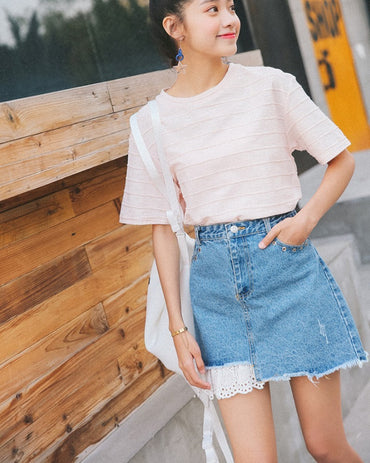 Preppy Style Sweet Lace Hollow Out Denim Shorts Skirts