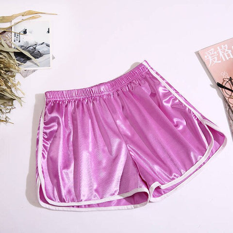 Solid Elastic Waist Striped Shorts