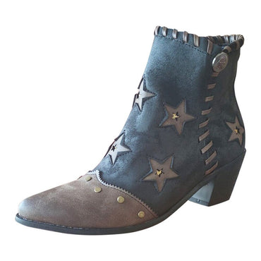 Leather Star Pattern Ankle Boots