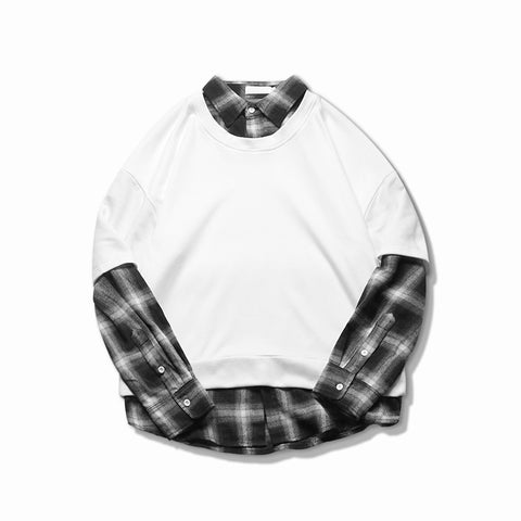 cotton fake two-piece shirt collar casual pullover tide white / black hoodies