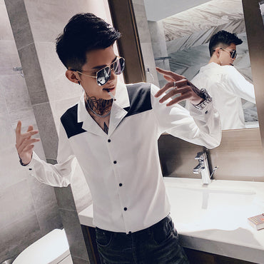 Long-sleeved Shirt Black White Patchwork Dress Shirt
