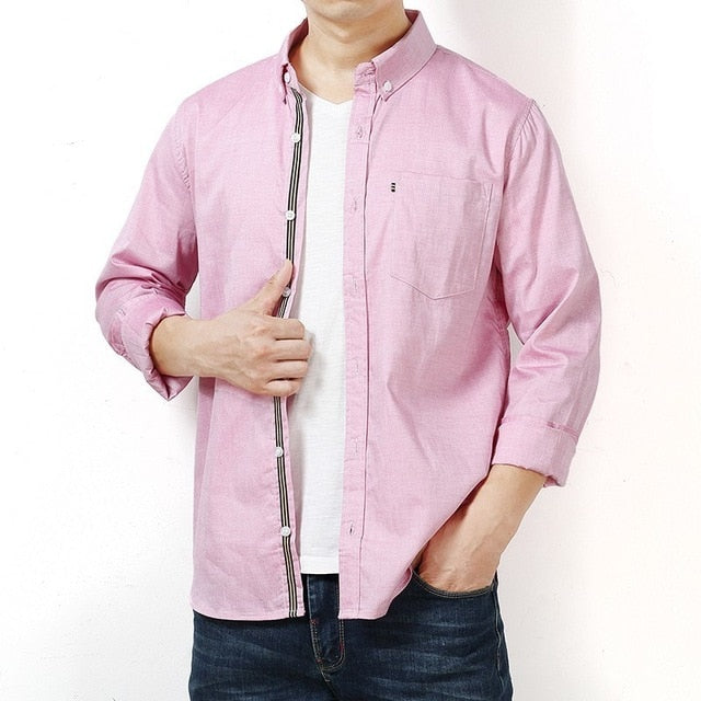 Long Sleeve Turn-down Collar Regular-Fit Dress Shirt