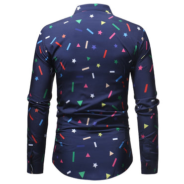 Geometric Print Slim Fit Long Sleeve Dress Shirt
