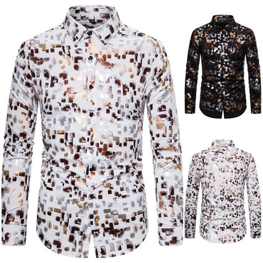 Vintage Print Slim Long Sleeve Dress Shirt