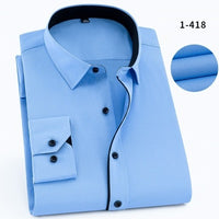 Long Sleeve Cotton Thin White Blue Dress Shirt