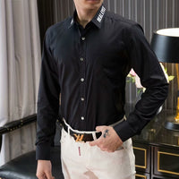 Slim Fit solid color Long Sleeve Dress Shirt