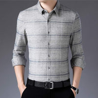 plaid long sleeve slim fit Dress Shirt