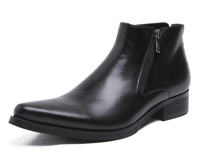 Genuine Leather Black Pointed Toe Boots