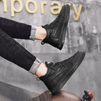 England Retro Trendy Shoes Mid-top Casual Leather Boots