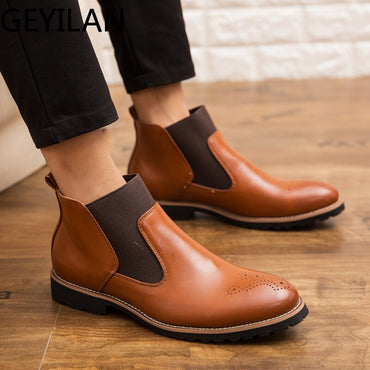 Vintage Brogue College Style  Casual Fashion slip on Boots