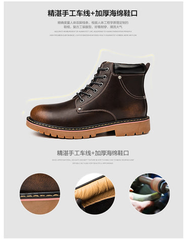 High-top plus Velvet British Style Genuine Leather Boots