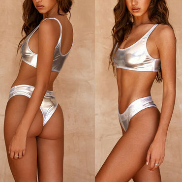 Bathing Suit Silver Sequins Push-up Padded Bra Swimsuit Bikini