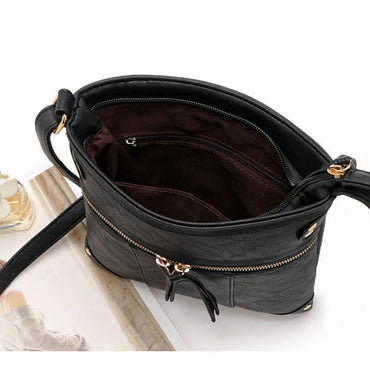 vintage messenger bag double zipper PU leather handbag