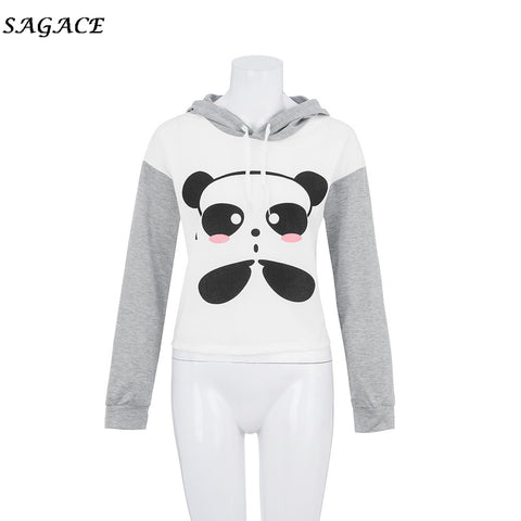 Long Sleeve Cartoon Panda Printing Caps Sweatshirt Hoodies