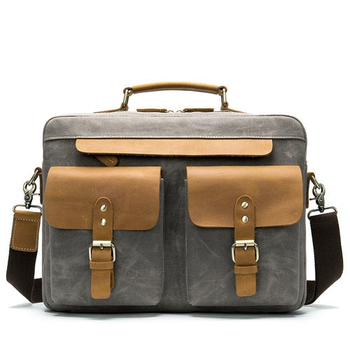casual vintage  briefcase canvas&crazy horse cow leather large handbags