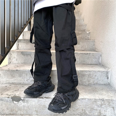 High street hip-hop ribbon legged pants