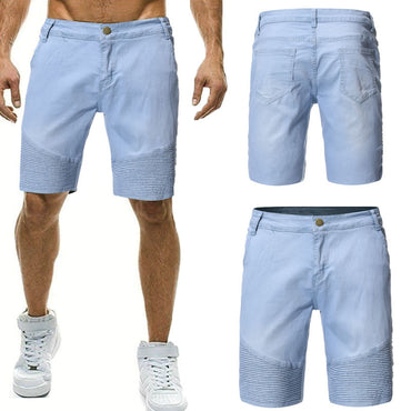 Pleated Cowboy Solid Color Short