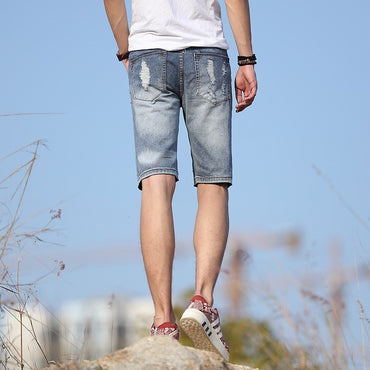 Holes Jeans Fifth Pants Aberdeen Cool Popular Brand Light Blue Shorts