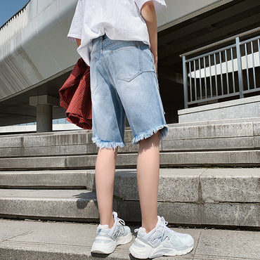Korean-style Trend  with Holes Shorts