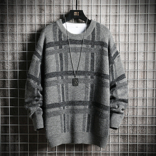 loose grid sweater