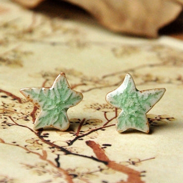 Ceramic Earrings Green Leaf Stud Earring Maple Leaf Charm  Necklace