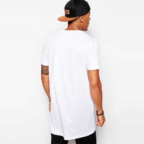 Black Long t shirt Men Tops Hip hop tee T-shirt