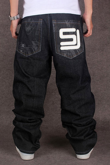 Black Baggy Jeans Hip Hop Skateboard Pants loose Rap Jeans