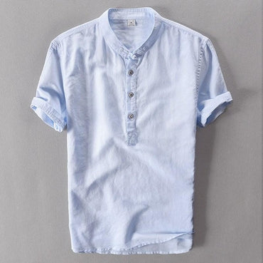 Mens Pullover Linen Shirts Short Sleeve Mens Quality Casual Shirts