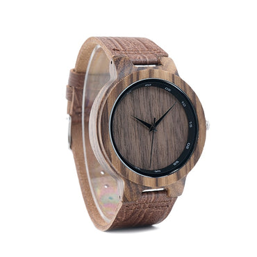 Zebra Wood Watch MGrain Leather Band Scale Circle Brand Designer Quartz Watches