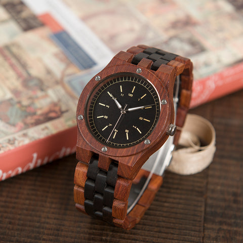 Erkek Satler Top Luxury Wood  Watch