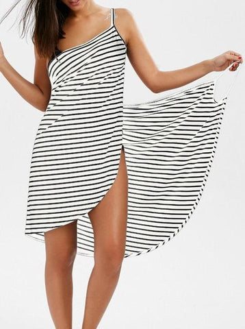 Striped Dress V-neck Dress