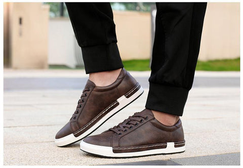 Mens Leather Flats Lace-Up Shoes - GaGodeal