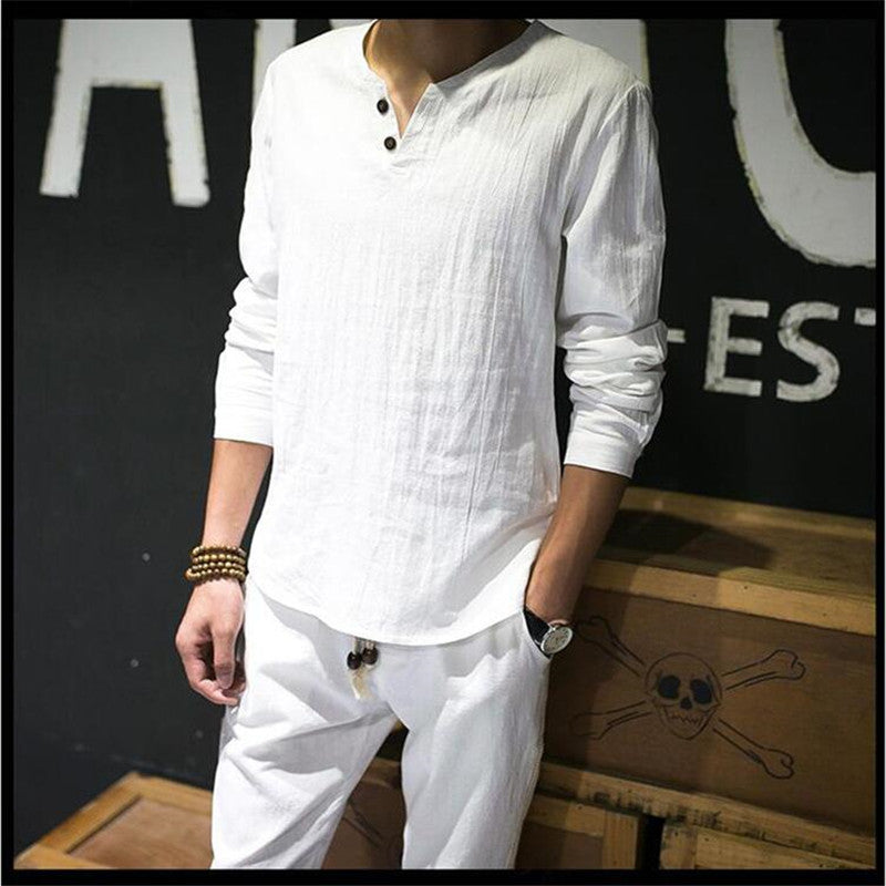 Linen Shirts Solid Basic Long Sleeve T Shirt Men Spring New Crew Neck T-shirts