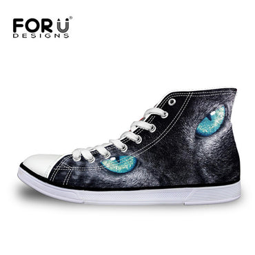 Casual Flats Shoes Black Cute Animal Cat Prints Shoes & Sneakers
