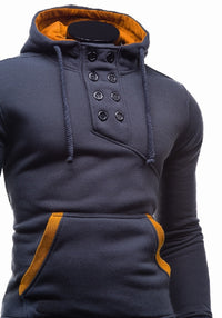 Cotton Sportswear Slim Button Pullover Male Hip Hop Solid Tracksuit Hoodies