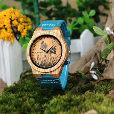 Bamboo Watch Men Special Design Lifelike UV Print Dial Face Wooden Wrist Watch