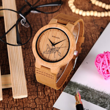 Wooden Watches Lifelike Special Design UV Print Dial Face Bamboo